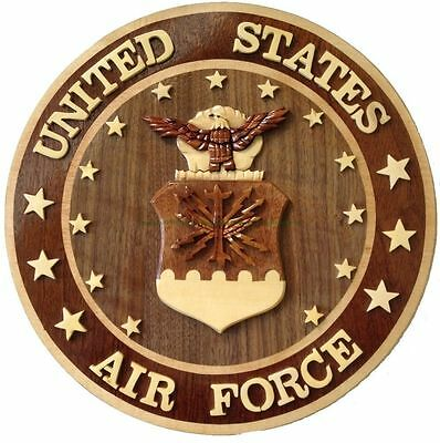 U.S. AIR FORCE EMBLEM - AIR FORCE PLAQUES - Handcrafted Wooden Military Plaques