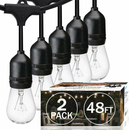 48/96FT Outdoor Waterproof patio Fairy Garden String Lights Dimmable Edison Bulb