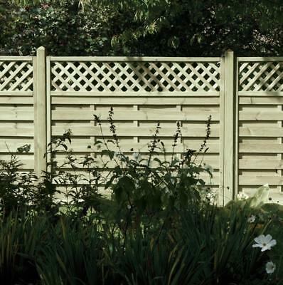 Horizontal Lattice Top Decorative Fence Panel 6ft x 5ft Pressure Treated
