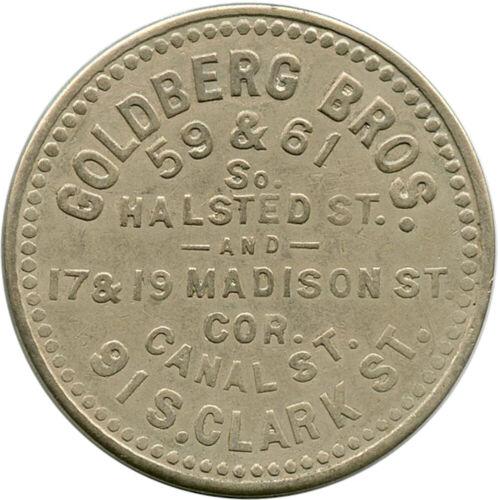 1905 Goldberg Bros. Saloon 2½¢ Chicago, Illinois IL Fancy Design Trade Token