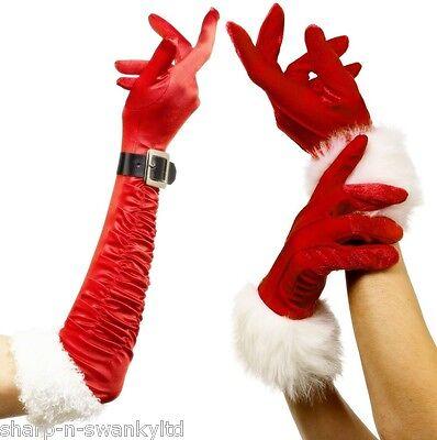 Ladies Sexy Mrs Santa Claus Christmas Red Fur Trim Gloves Fancy Dress Costume](Ladies Santa Dress)