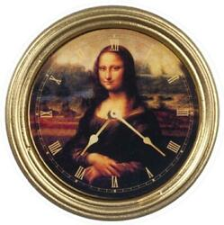 Dolls House Mona Lisa Wall Clock Round Gold Frame Miniature 1:12 Accessory