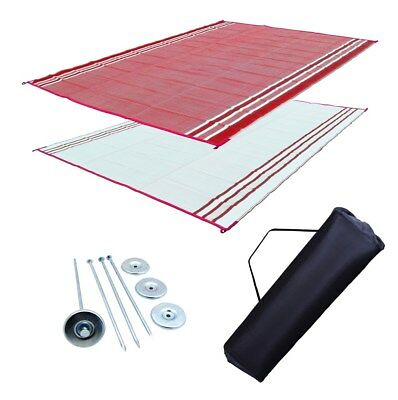 RV Patio Mat Motorhome Awning Mat Outdoor Burgundy Stripe Reversible Mat 9x18