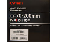 Canon ES 2.8 70-200 IS II boxed with all accessories, as new.