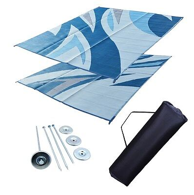 RV Patio Mat Motorhome Awning Mat Outdoor Blue Wave Reversible 9x12 w/ Bag