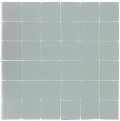 Modern Squares Blue Frosted Glass Mosaic Tile Backsplash MTO0414