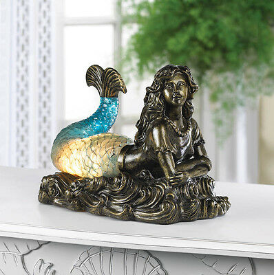 MERMAID TABLE LAMP NIGHT LIGHT NAUTICAL FIGURINE DECOR~10015703