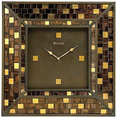 Bulova Huge C4105 Alsace Metal and Glass Mosaic Contemporary Wall Clock