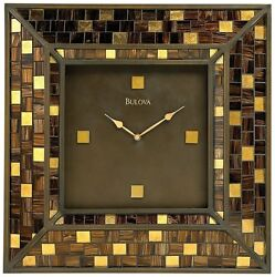 Bulova Huge C4105 Alsace Metal and Glass Mosaic Contemporary Wall Clock