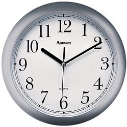 8108 Advance Time Technology 10 Analog Quartz Wall Clock - Silver