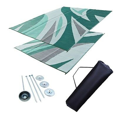 RV Patio Mat Motorhome Awning Mat Outdoor Green Wave Reversible 9x12 w/ Bag