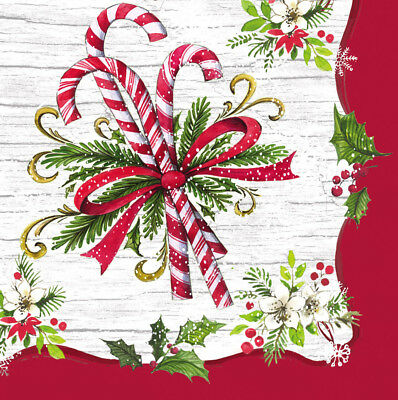 Cypress Home Candy Cane Paper Cocktail Napkins, 20 count