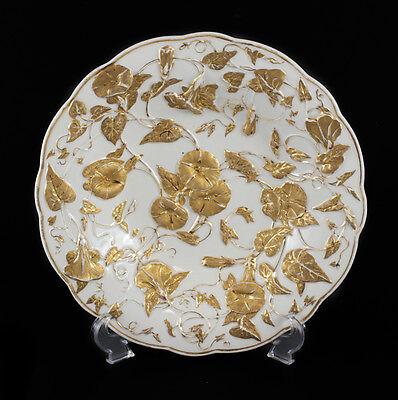 Meissen Germany Porcelain Gold Leaf & Floral High Relief Raised Bowl, c. 1920