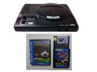 SEGA Mega Drive console with 2 controllers 3 games Fifa ,Kick Off, Double Dragon