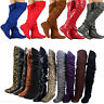 Womens Over Knee Thigh High Slouch Suede Flat Boots Choose S