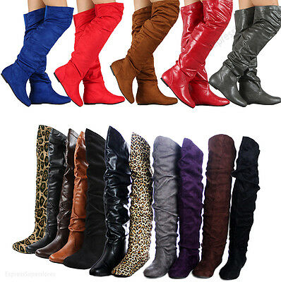 Womens Over Knee Thigh High Slouch Suede Flat Boots Choose (Flat Suede Slouch Boots)