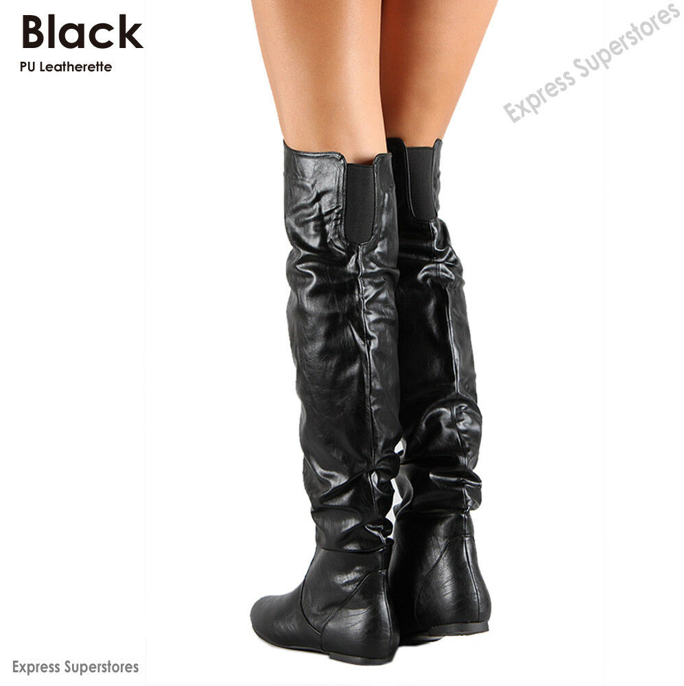 Womens Over Knee Thigh High Slouch Suede Flat Boots Choose Size