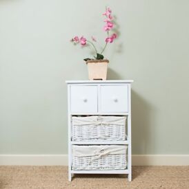 White 2 Drawer Tall Bedside Unit with Wicker Storage