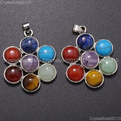 Natural Gemstones Healing Reiki Chakra Six Petal Flower Pendant Charm Beads (Six Petals Flower Beads)