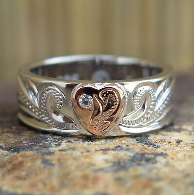 Hawaiian Silver Rose Gold Plated Scroll Heart CZ Wedding Ring Band 6mm SR3302