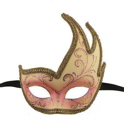 Mask from Venice Colombine Swan Lilou Pink Golden Gala 1146 V57