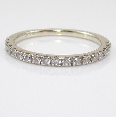 14K White Gold 0.20ctw Natural Diamond Wedding Band Ring Size 6