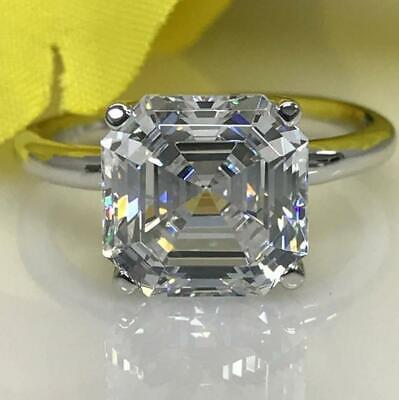 Certified 3.00 Ct Asscher Cut Diamond Solitaire Engagement Ring 14k White Gold -