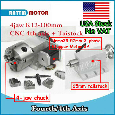In Usacnc K12-100mm Rotary Axis 4th Axis 4 Jaw Chuck Ratio 61 65mm Tailstock