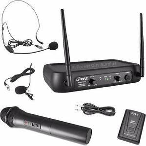 New - PYLE WIRELESS MICROPHONE SYSTEM COMPLETE WITH HANDS FREE HEADSET - COMPARE DJ PRODUCTS AT SURPLUS PRICES !!