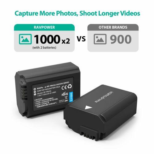 RAVPower Camera Batteries Set of 2 Sony A6000 A6500 A6300 A6400 A7 A7II