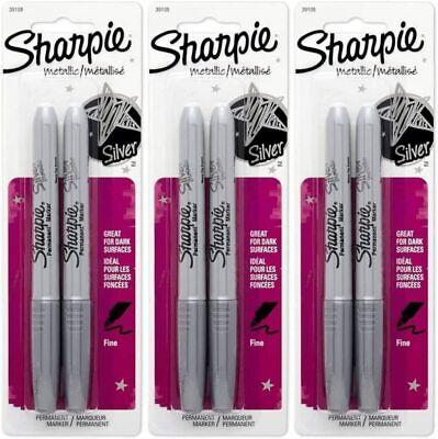 Sharpie Metallic Silver Pen 2 Count Per Pack -- 3 Per Case