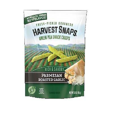 Harvest Snaps PARMESAN ROAST GARLIC Green Pea Snack Crisps Baked Chips 3 Oz 4 Pk