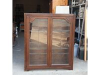 Vintage Jentique Free-Standing Bookcase With Leaded Glazed Doors And Original Key