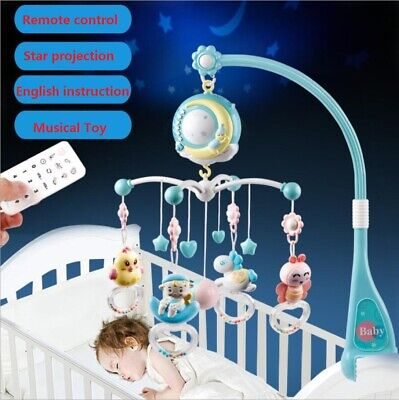 Song Bed Bell Kid Crib Musical Mobile Cot Night Light Music Box Baby Rattles -