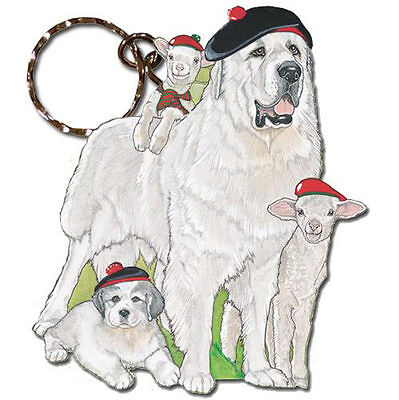 Great Pyrenees Wooden Dog Breed Keychain Key Ring