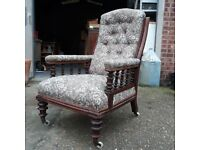 Victorian Mahogany Button-Back Library Armchair on Castors with Floral Fabric Chair