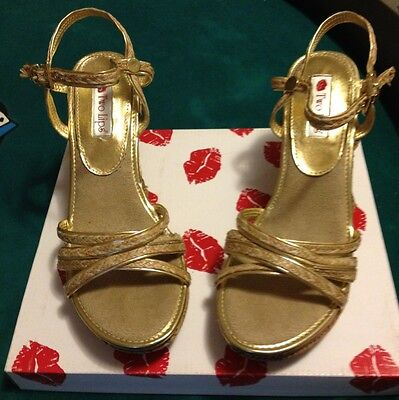 Two Lips Twizzle Gold Wedges Women's Shoe Size 9