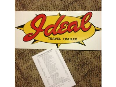 "Illusory Vintage elegance Travel Trailer Decal Red, Yellow & Swarthy 23"" Set of 2"