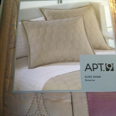 Apt 9 Botanica Quilted Euro Pillow Sham Taupe Beige & Pink/purple