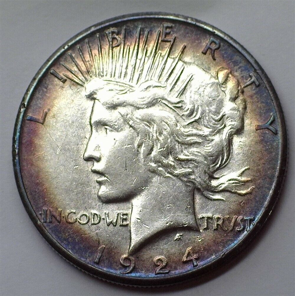1924-S PEACE SILVER DOLLAR UNCIRCULATED IRIDESCENT TONING  - $59.00
