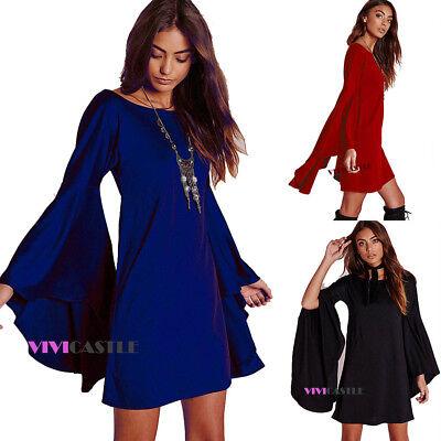 Vivicastle H78 Loose Fit Long Flare Bell Slv Blouse Tunic Mini Dress Top Sml