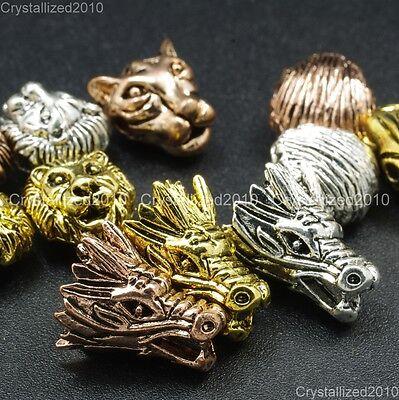 - Solid Metal Dragon Lion Leopard Bracelet Necklace Connector Charm Beads Silver