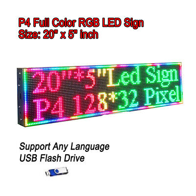 20x 5 Rgb Full Color P4 Led Sign Programmable Scrolling Message Display