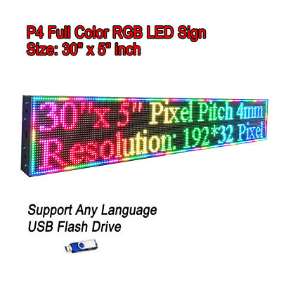 30x 5 Rgb Full Color P4 Led Sign Programmable Scrolling Message Display