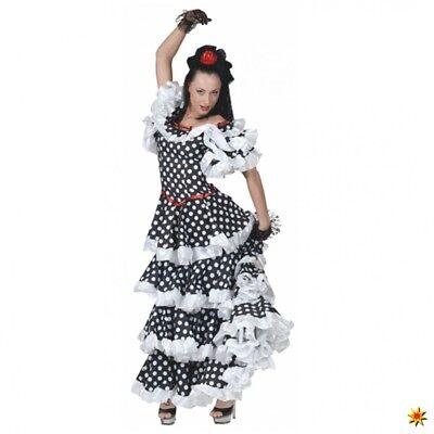 Flamenco Kleid Kostüme (Tango Kostüm 36- 46  Kleid schwarz/weiß gepunktet Spanierin Flamenco Argentinien)
