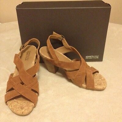 Kenneth Cole Women's Shoes City Scene Tan Suede Chunky Heels Size 8 NWB $99