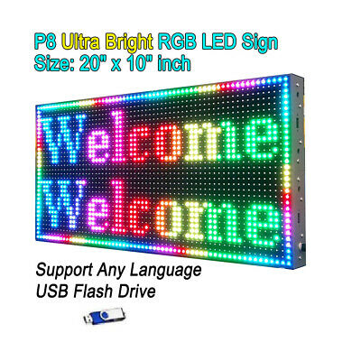 20x10 P8 Full Color Semi Outdoor Led Sign Programmable Scrolling Message Board