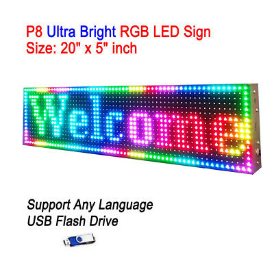20x 5 P8 Full Color Semi Outdoor Led Sign Programmable Scrolling Message Board