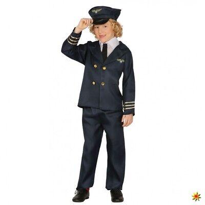 Kinderkostüm Pilot Julian Anzug blau Piloten-Mütze Fasching Piloten Uniform ()