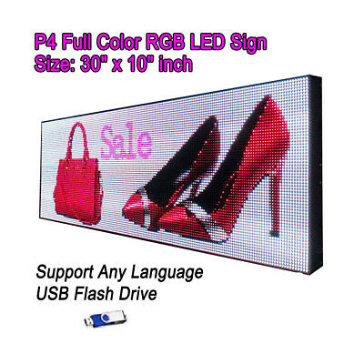 30x 10 P4 Full Color Video Hd Led Sign Programmable Scrolling Message Display